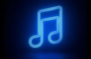 Apple Music-muzieknoot in neon.