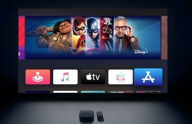Apple TV beginscherm in donker.
