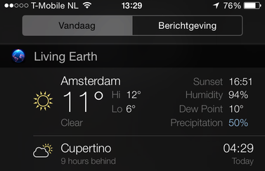 Living Earth widget feature