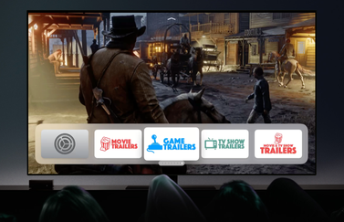 Best Game Trailers op Apple TV op beginscherm.