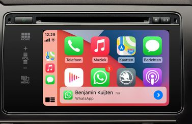 WhatsApp in CarPlay op het beginscherm.