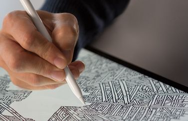 Apple Pencil close up in use