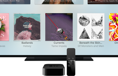 Apple TV met muziek in tvOS.