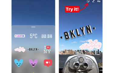 Instagram geostickers voor New York City.