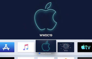 Apple TV met Events-app voor WWDC 2019.