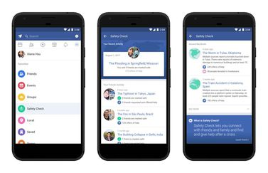 Facebook Safety Check in app.