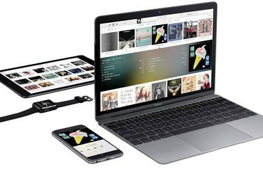 MacBook, iPhone, iPad en Apple Watch met Apple Music erop