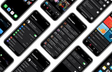 Concept van een dark mode op iPhone X.