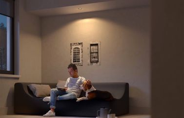 Philips Hue Milliskin met man op de bank.