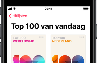 Apple Music Top 100 Nederland en wereldwijd.