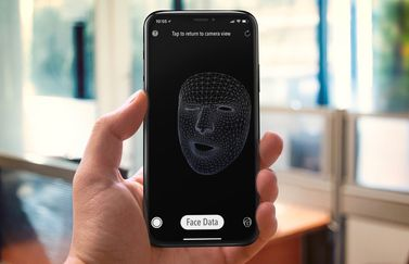 Face Mesh van MeasureKit op iPhone X.
