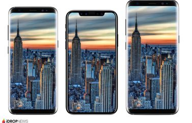 iPhone 8 renders vergeleken met Samsung Galaxy S8.