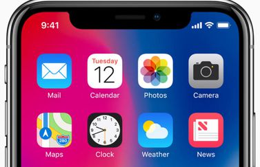 iphone X beginscherm